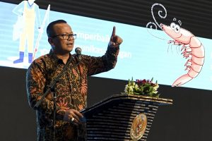 Menteri Kelautan dan Perikanan Edhy Prabowo menyampaikan pidato saat Rakornas KKP di Jakarta, Rabu (4/12/2019).