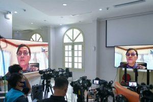 Menteri Keuangan, Sri Mulyani, usai mengikuti Sidang Kabinet Paripurna melalui daring