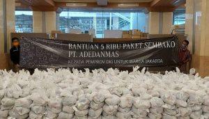 Pemprov DKI Terima Bantuan 5.000 Paket Sembako dari PT Adedanmas.