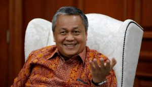 Indonesia's Central Bank Governor Perry Warjiyo gestures during an interview with Reuters at Bank Indonesia headquarters in Jakarta
